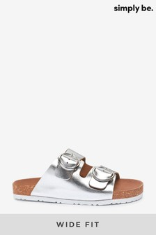 Simply Be Silver Sandal Wide Fit