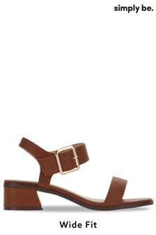 Simply Be Tan Sandal With Buckle Detail Wide Fit