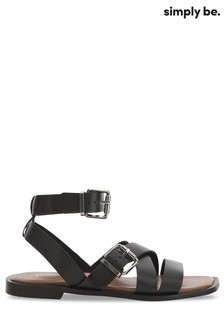 Simply Be Black Strappy Sandal Wide Fit