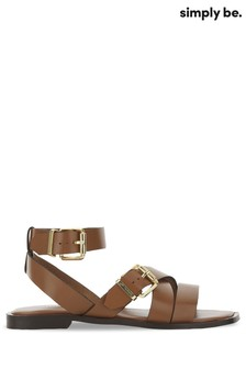 Simply Be Tan Strappy Sandal Wide Fit