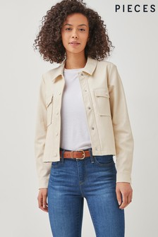 Pieces Cream Faux Leather Shacket