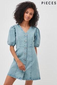 Pieces Light Blue Denim Puff Sleeve Denim Dress