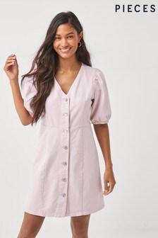 Pieces Pink Puff Sleeve Denim Dress