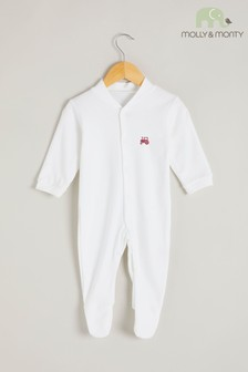 Molly & Monty White Organic Red Tractor Sleepsuit
