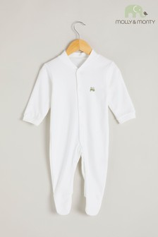 Molly & Monty White Organic Green Tractor Sleepsuit