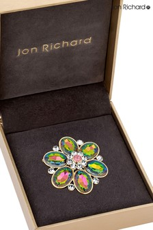 Jon Richard Gold Iridescent Floral Brooch in a Gift Box