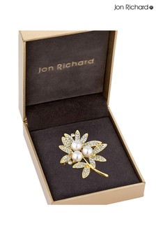 Jon Richard Gold Leaf And Pearl Brooch in a Gift Box