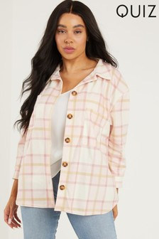Quiz Pink CURVE CHECKED SHACKET