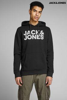 Jack & Jones Black Logo Overhead Hoodie