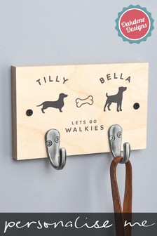 Personalised Two Dog Lead Hooks by Oakdene