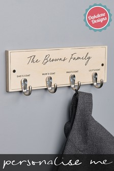 Personalised Four Hook Family Coat Hook by Oakdene Designs