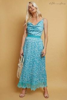Little Mistress Blue Merida Aqua Print Pleated Hem Midaxi Dress