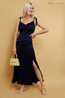 Little Mistress Navy Sabina Satin Tie Strap Midaxi Dress