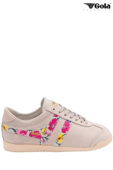 Gola White Bullet Floral Suede LaceUp Trainers