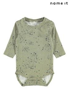Name It Green Spot Print Printed Long Sleeve Body
