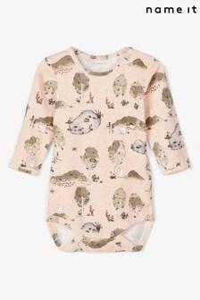 Name It Pink Woodland Print Printed Long Sleeve Body