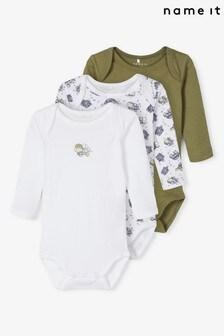 Name It Green Turtle Print Long Sleeve Bodysuit 3 Pack