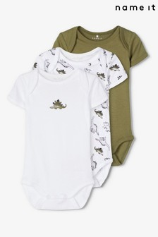 Name It Green Dinosaur Print Short Sleeve Bodysuit 3 Pack