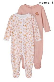 Name It Pink Floral Print 2 Pack Sleepsuit