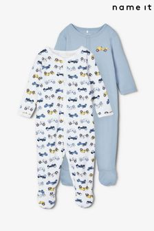 Name It Blue Car Print 2 Pack Sleepsuit