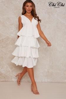 Chi Chi London White Sleeveless Ruffle Midi Dress In White