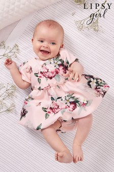 Lipsy Pink Floral Baby Puff Sleeve Dress With Matching Knicker