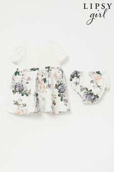 Lipsy White Baby Puff Sleeve Dress With Matching Knicker