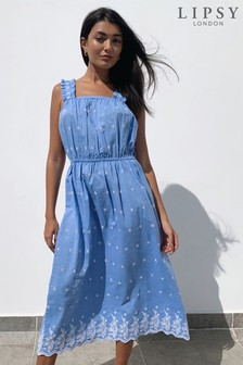 Lipsy Blue Embroidered Cami Midi Dress