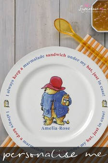 Personalised Paddington Bear Marmalade Sandwich Rimmed Plate Breakfast Set by Signature PG