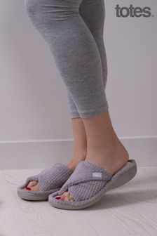 Totes Grey Popcorn Turnover Open Toe Slippers