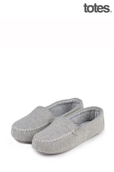 Totes Grey Textured Moccasin Slippers
