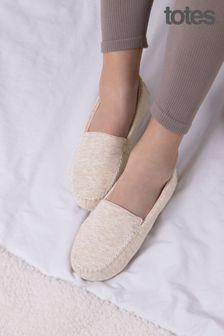 Totes Neutral Textured Moccasin Slippers