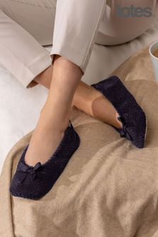 Totes Black Isotoner Popcorn Slippers