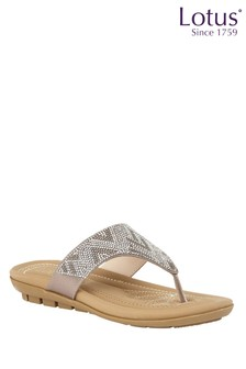Lotus Footwear Silver Toe Post Flat Sandals