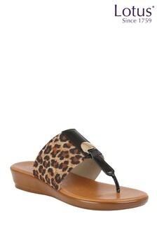 Lotus Footwear Brown SlipOn Toe Post Sandals