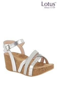 Lotus Footwear Silver Wedge Sandals
