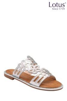 Lotus Footwear Silver Mule Sandals