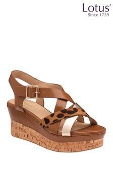 Lotus Footwear Brown Tan Ankle Strap Wedge Sandals