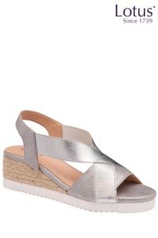 Lotus Footwear Silver SlipOn Wedge Sandals