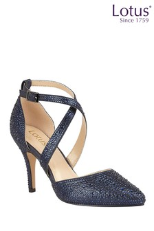Lotus Footwear Blue Ankle Strap Court Shoes