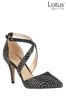 Lotus Footwear Black Ankle Strap Court Shoes