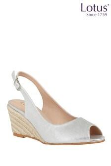 Lotus Footwear Silver SlingBack Wedge Sandals