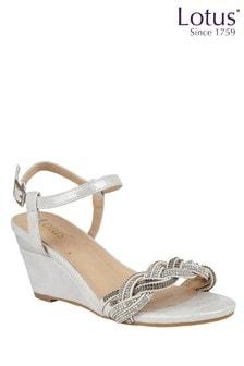 Lotus Footwear Silver OpenToe Wedge Sandals