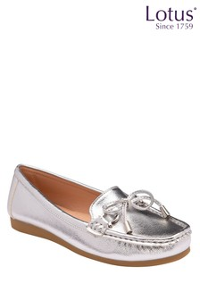 Lotus Footwear Silver Slip On Loafers