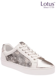 Lotus Footwear White Leather Zip Up Casual Shoes