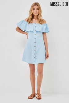 Missguided Blue Bardot Frill Button Down Dress