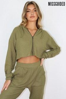 Missguided Green Frill Rib Zip Up Loungewear Set