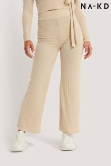 NA-KD Natural High Waist Ribbed Pants