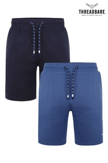 Threadbare Navy 2 Pack Bergamot Fleece Shorts