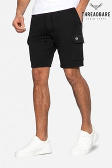 Threadbare Black Hunter Sweat Cargo Shorts